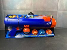 Nerf Dog Large Size Tennis 20 Inch Blaster with 4 Balls, Blue/Orange
