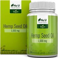 Hemp Seed Oil Softgels 1000mg Vegan  Hemp Oil Cold Pressed 120 Softgels 4 Month