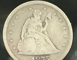 1875 Seated Liberty 20 Cent Piece Rare Fine