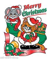 Merry Christmas Shirt, Cat & Mouse with Candy Canes, gifts, stockings, Sm - 5X