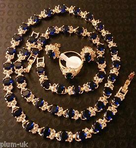SET Blue sapphires 18k gold gf matching necklace bracelet ring earrings PlumBOXE