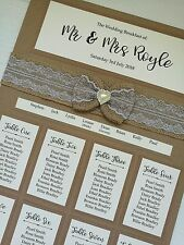 A3 Rustic kraft hessian lace bow design wedding table plan / seating plan