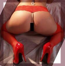 sexy String Tanga Spitze Perlen Perlenkette Dessous Reizwäsche rot OS 34-38