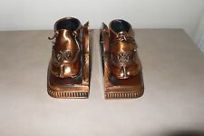 Vintage copper colored faux toddlers shoes bookends metal & composite unbranded