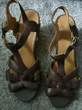 CLARKS HIGH WEDGE HEEL WIDE FITTING SANDALS SIZE 6