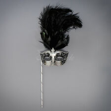 Handheld Stick Venetian Masquerade Mask for Women M6150 - Black/Silver