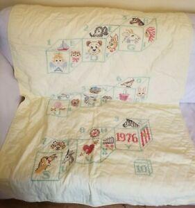 Vintage 1979 Cross Stitch Baby blanket lovey alphabet blocks number toys  41x57