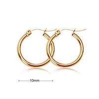 18k yellow Gold plated huggie hoop 10mm small sleeper earrings AUS MADE