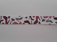 "1 M x GROSGRAIN PRINTED STILETTO SHOES RIBBON 7/8"" SCRAPBOOKING CRAFTS BOWS"