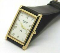 Seiko Quartz Super Slim Men's Gold Plated Rectangle Excellent Watch