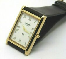 Seiko Quartz Super Slim Men's Gold Plated Rectangle Excellent Watch