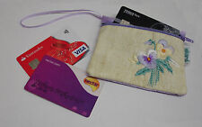 New Ekard Pansy Embroidered Credit Card Holder Coin Purse Pouch Zipped  K80P