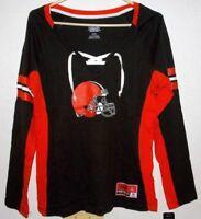 Womens Majestic NFL Cleveland Browns Fan Football Tee Long Sleeve T-Shirt Medium