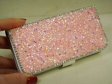 Pink Bling Made with Swarovski Crystal Gemstone Frame Wallet Case Cover iPhone 6