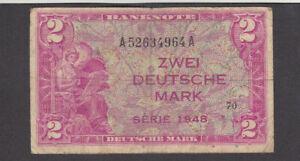 2 DEUTSCHE MARK VG-FINE  BANKNOTE FROM WEST-GERMANY 1948 PICK-3
