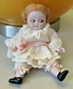 EXCELLENT! Vintage Bisque Small Brown Glass Googly Eye Doll Marked German Kewpie