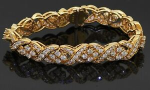 "Heavy 18K yellow gold VS 12.21CT diamond cluster ""X"" link bracelet"