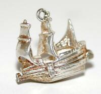 Opening Galleon Ship With Cargo Sterling Silver Vintage Bracelet Charm 4.2g