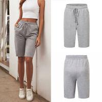 Drawstring Grey Short Pants Elastic Waist Sports Knee Length Pants for Women N