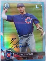 2018 Bowman Chrome Auto Nico Hoerner /402 Sky Blue Refractor Rookie Cubs