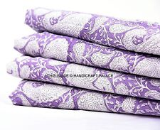 2.5 Yard Indian Block Printed Pure Cotton Fabric Sanganeri Running Voile Fabric