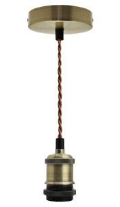 Ceiling Rose & Pendant Fabric Flex ANTIQUE BRASS Hanging Lamp Holder Kit M0010