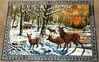 """Vintage large hanging wall Tapestry Forest Elk Deer 72"""" x 48"""" cabin lodge decor"""