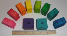 """Pine Square Dyed (10 Pieces) 1.5"""" x 1.5"""" x 3/4"""" Pine Wood Diy Bird Toy Part"""