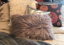 Pastel Purple Fuzzy Faux Long Fur Rectangle Pillow 90s Funky Room Deco Accent