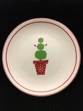 "Starbucks Coffee 2006 Christmas Holiday Snowman Topiary 6"" Dessert Plate Red"