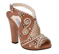 New Prada Whipstitch Slingback Brown Leather Platform Sandals 36 1/2 6 6.5 $1050