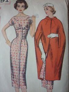 VINTAGE 1960'S SIMPLICITY DRESS & CAPE SEWING DRESSMAKING PATTERN