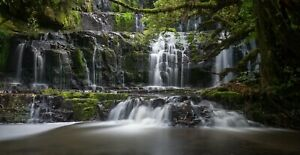 Green Forest Woods Waterfall Landscape Wall Art Poster & Canvas Picture Prints