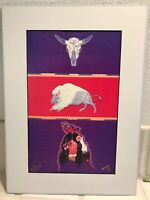Rich Moyers Hand SIGNED Buffalo Medicine Skull Print NATIVE AMERICAN ART Warrior