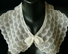 Old 19c Collar beautiful mesh lace embroidered  hand made costume design