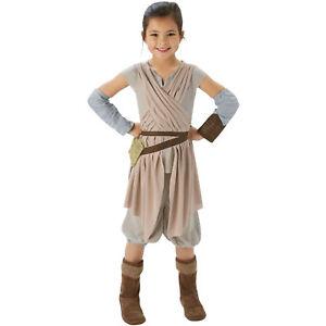 KINDER DELUXE REY KOSTÜM / Mädchen Rey Skywalker Jedi Karneval Fasching 620263
