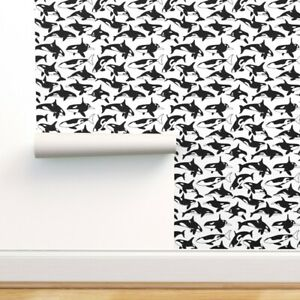 Removable Water-Activated Wallpaper Black And White Orca Whale Sea Creature