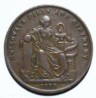 1858 Australia One 1 Penny Professor Holloway - London, England Token - Lot 327