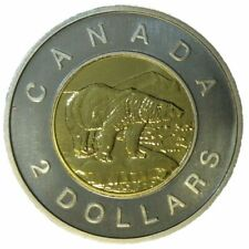 2006 Canada 💎 2 (Two) Dollars $2 Coin, Toonie, Polar Bear, 2006 (date on top)