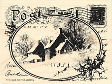Snowy Winter Postcard  Cottage Wood Mounted Rubber Stamp Stampendous NEW R143