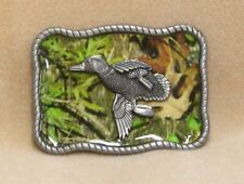 Belt Buckle Raised Pewter Mallard Duck Over Green Camouflage Rectangle Rope Edge