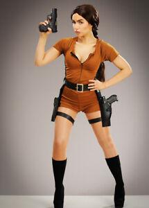 Womens Lara Croft Style Treasure Hunter Adult Halloween Fancy Dress Costume