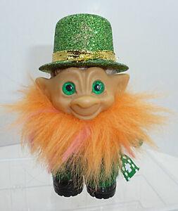 "Vtg Rootie 3"" Troll - Green Spiral Eyes - Leprechaun - St. Patrick's Day - OOAK"