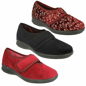 EASY B DB CAROLINE WARM RIPTAPE STRAP INDOOR HOUSE LOUNGE WINTER SLIPPERS SHOES