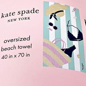 Kate Spade Oversized Beach Towel 40 X 70 Bikini Sunglasses Sun Hat NEW
