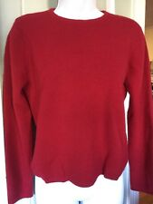 Sarah Spencer Red Crewneck Pullover Soft Italian Merino Wool Sweater Large