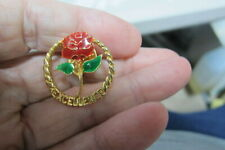 Vintage Gold tone w/ Red Tose and the Word Excellence Pin
