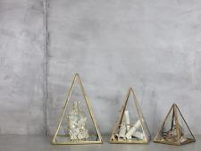 Pantalla de cristal de latón antiguo Pirámide Terrario T luz vela titular bequai Nkuku