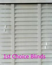 Made to Measure Faux Wood Ripple Effect  Venetian Blind White Slats with Tapes