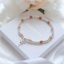 Sterling Silver Sunstone Hummingbird Beaded Bracelet Crystal Stacking Jewellery